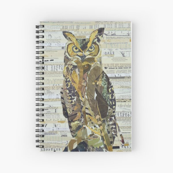 Great Horned Owl Unique Collage Art Spiral Notebook