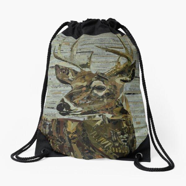 Whitetail Deer Collage Art Unique Drawstring Bag