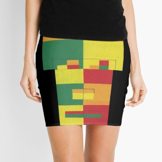 Square Fro (Facemadics abstract face colorful contemporary) Mini Skirt