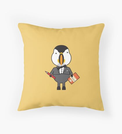 Pierre the Proofraeder Puffin Throw Pillow