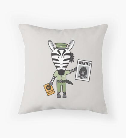 Zeke the Zoo Keeper Zebra Throw Pillow