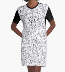 Call Me By Your Name Elios Shirt Faces in Black Outlines on White CMBYN Graphic T-Shirt Dress