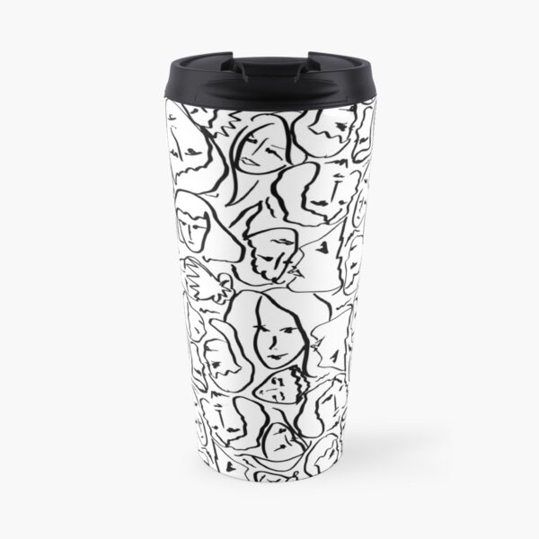 Call Me By Your Name Elios Shirt Faces in Black Outlines on White CMBYN Travel Mug