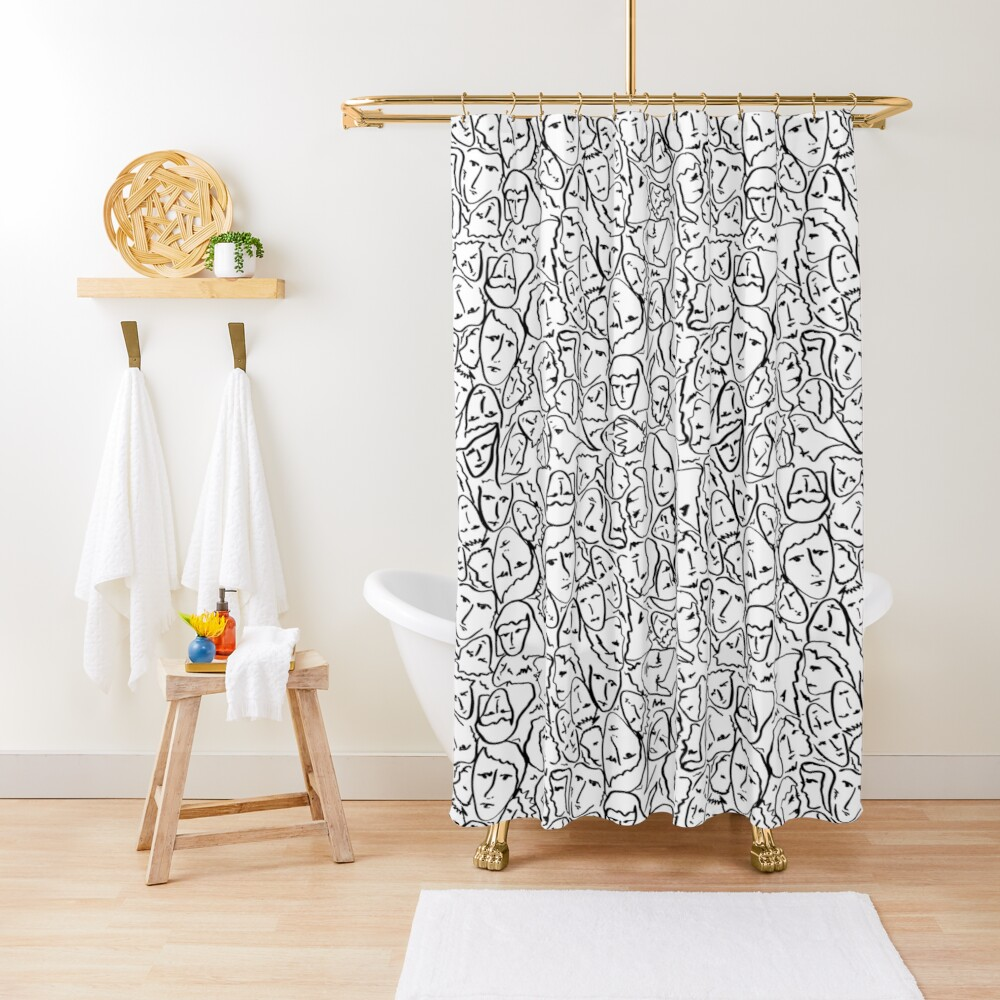 Call Me By Your Name Elios Shirt Faces in Black Outlines on White CMBYN Shower Curtain