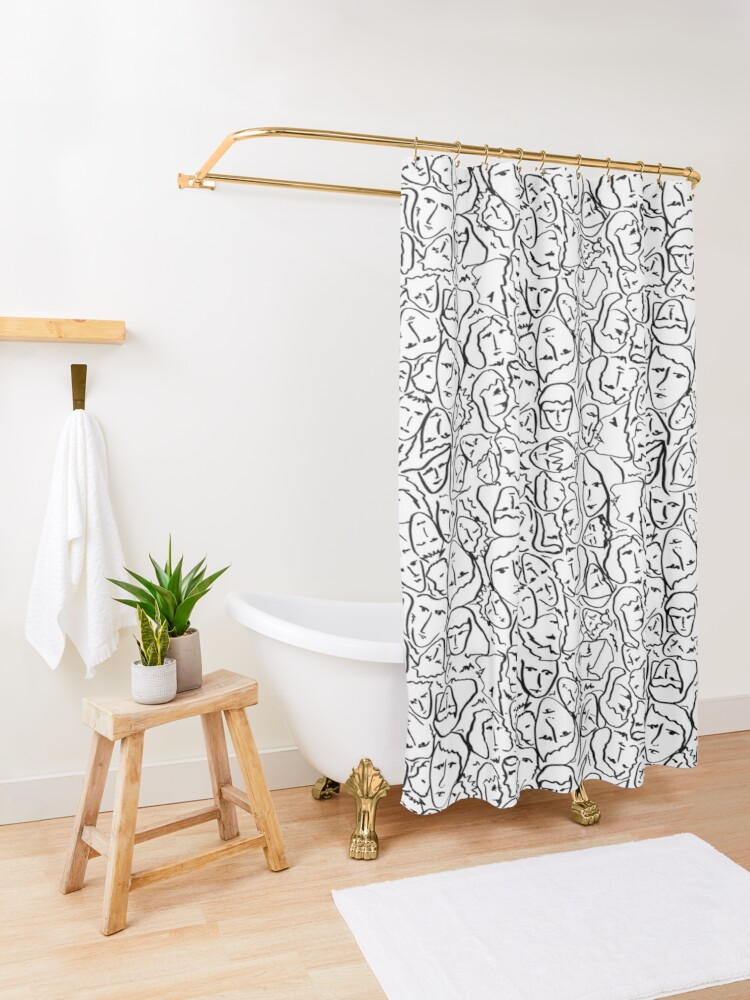 Alternate view of Call Me By Your Name Elios Shirt Faces in Black Outlines on White CMBYN Shower Curtain