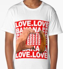 Heart Shape Hand with Banana Food Fruit Geometry Polygon on Red Background 3d Vector Illustration Long T-Shirt