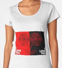 Black and Red Rose Flower  Nature Garden Plant. Drawing, Romantic, Vintage, Retro, Natural, Background, Illustration Women's Premium T-Shirt