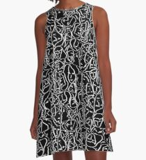 Call Me By Your Name  Elios Shirt Faces in White Outlines on Black CMBYN A-Line Dress