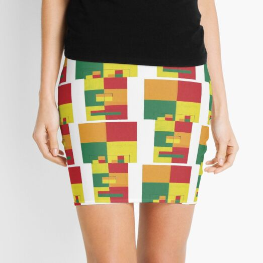 Fro Square Repeat (Facemadics colorful contemporary abstract face) Mini Skirt