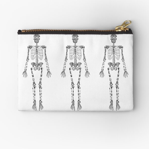 Typographical Skeleton Zipper Pouch