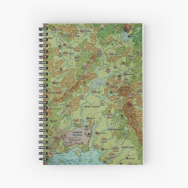 Dragon Pass and Prax Map by Darya Makarava Spiral Notebook