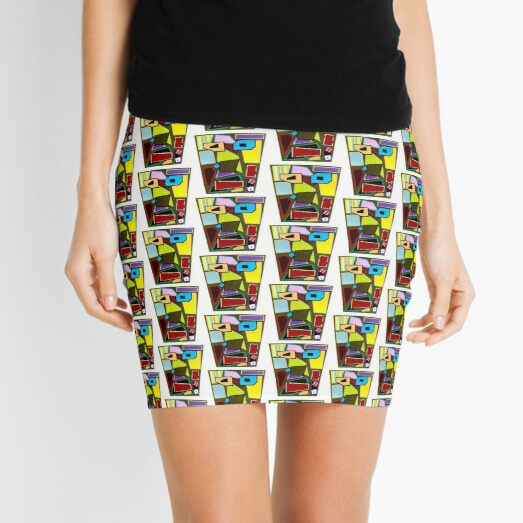 Scattered Mess Repeat (Facemadics abstract face colorful contemporary) Mini Skirt
