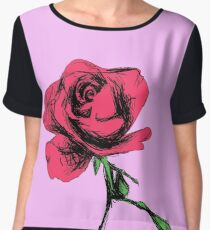 Pink Rose in Blossom Chiffon Top