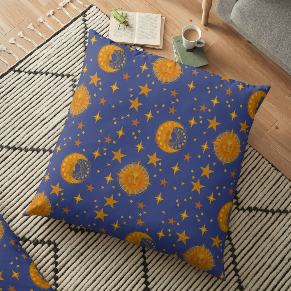 Bohemian 90's Sun and Moon Celestial Pattern Floor Pillow