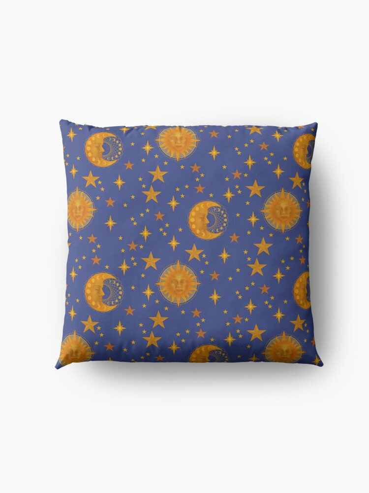 Alternate view of Bohemian 90's Sun and Moon Celestial Pattern Floor Pillow