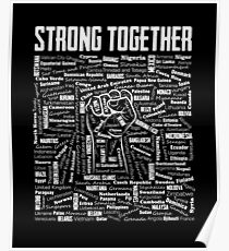 Strong Together Fist with 196 States of the World Poster