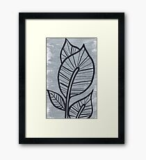 Black Leaves on Silvery Grey Background Framed Print
