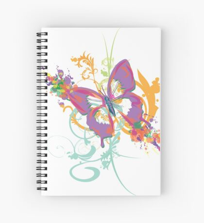 butterfly and swirls abstract Spiral Notebook