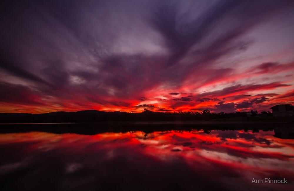 Fire and Water - Sunset at Regatta Waters Lake, Gold Coast by Ann Pinnock