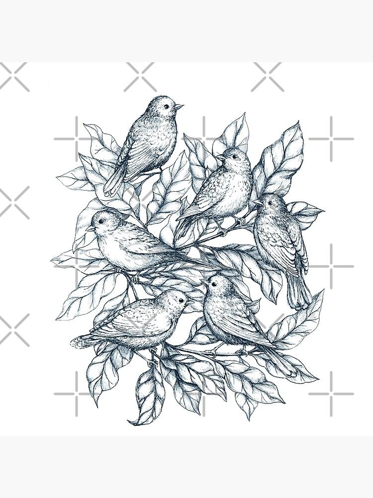 Autumn birds  - Bird illustration and Pattern by linnw