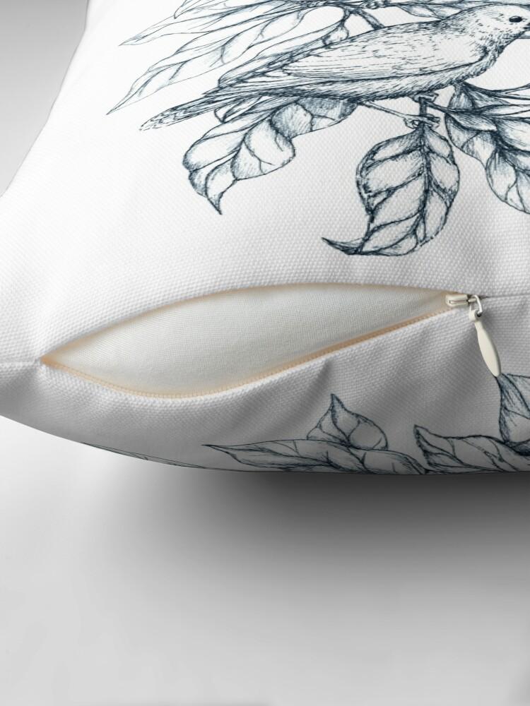 Alternate view of Autumn birds  - Bird illustration and Pattern Throw Pillow
