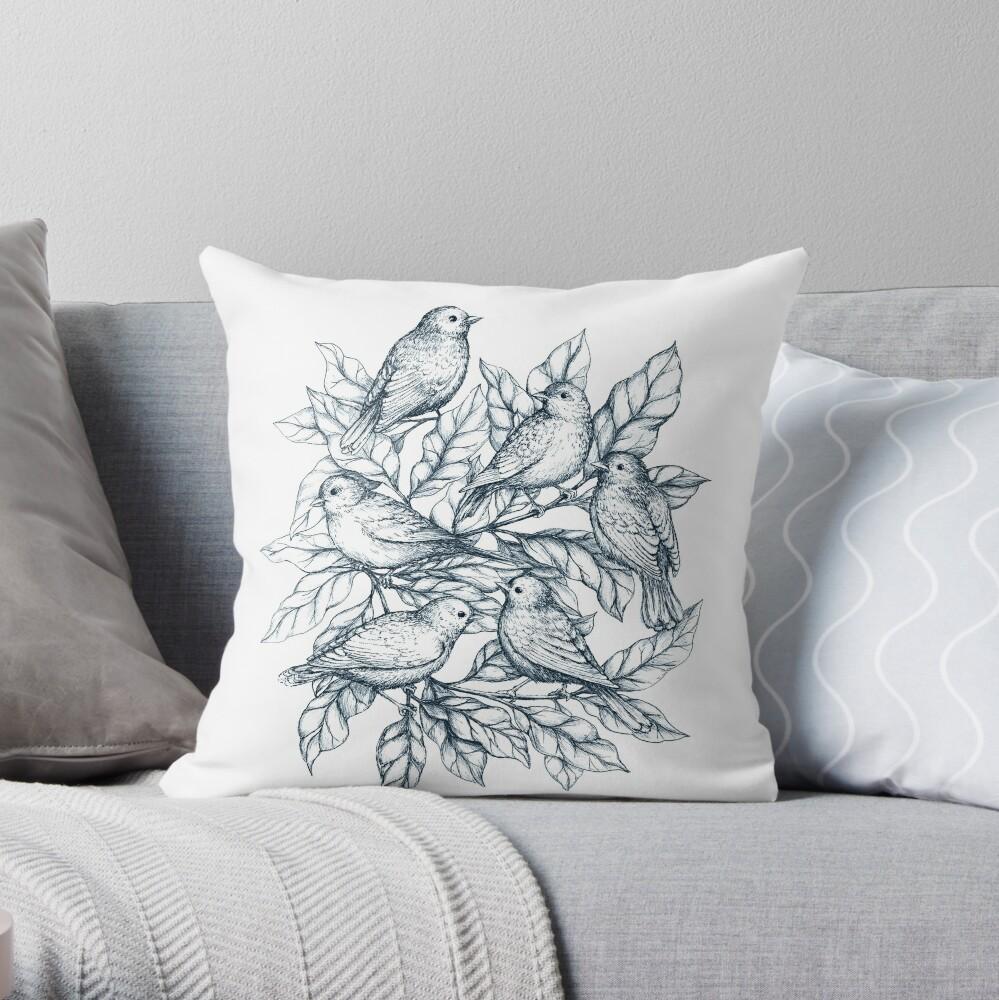 Autumn birds  - Bird illustration and Pattern Throw Pillow