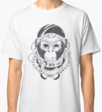 Vector hand drawn illustration of a monkey astronaut, chimpanzee in a space suit Classic T-Shirt