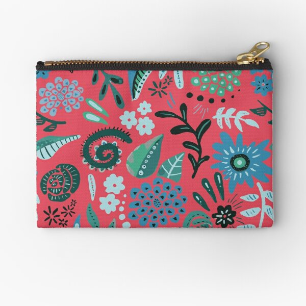 blue floral/pink background Zipper Pouch