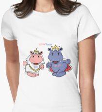Hippos Nilpferde Lalli und Loops heiraten Tailliertes T-Shirt für Frauen