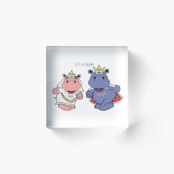 Hippos Nilpferde Lalli und Loops heiraten Acrylblock