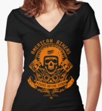 Riders On The Storm Bikers Women's Fitted V-Neck T-Shirt