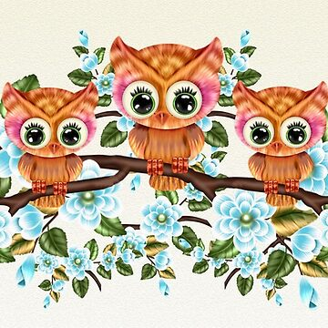 Owls With Blue Flowers by LoneAngel