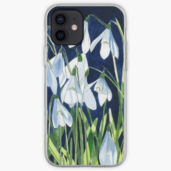 Watercolour painting of snowdrops with a dark background iPhone Soft Case