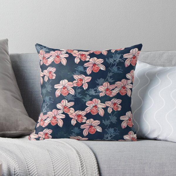Orchid garden in peach on navy blue Throw Pillow