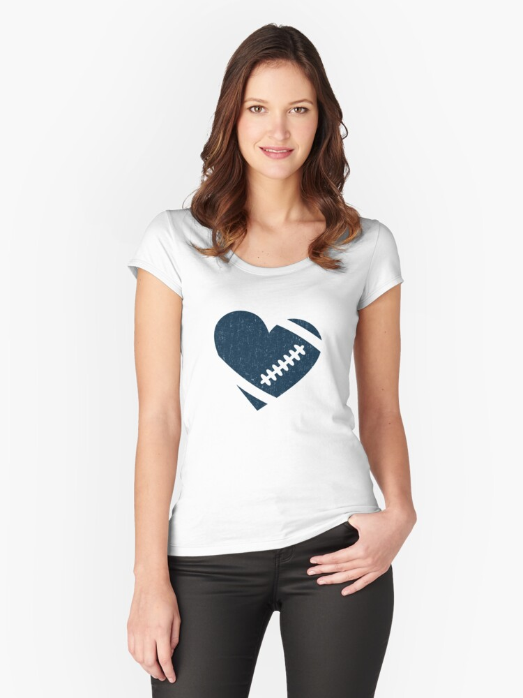 AMERICAN FOOTBALL HEART VINTAGE Women's Fitted Scoop T-Shirt Front