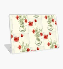 Red Poppies In Vase Laptop Skin