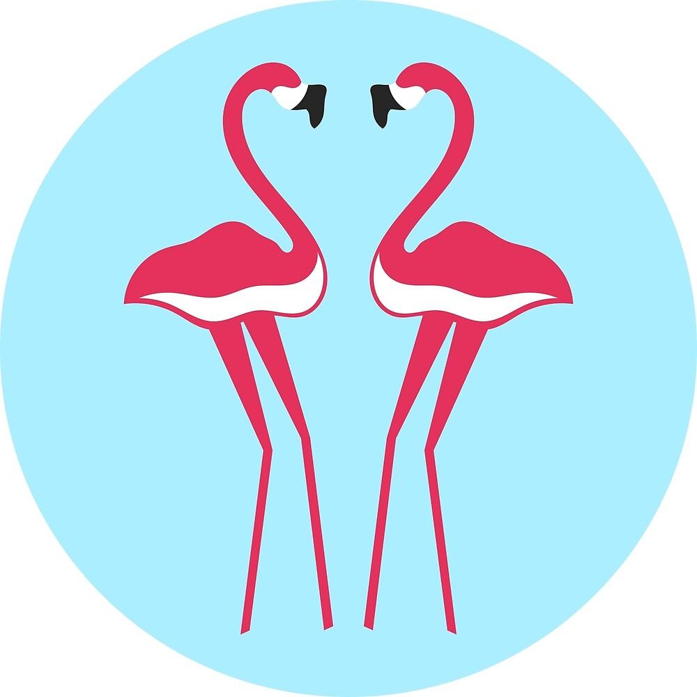 pair of pink flamingos on turquoise background by SooperYela