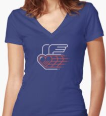 Winged Heart Fitted V-Neck T-Shirt