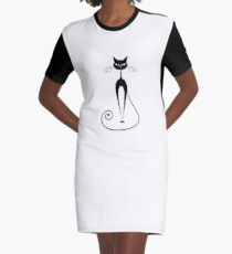 Black cat silhouette Graphic T-Shirt Dress