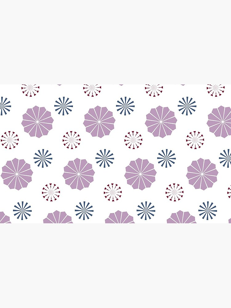 Pink and Blue Geometric Flowers by artkecco