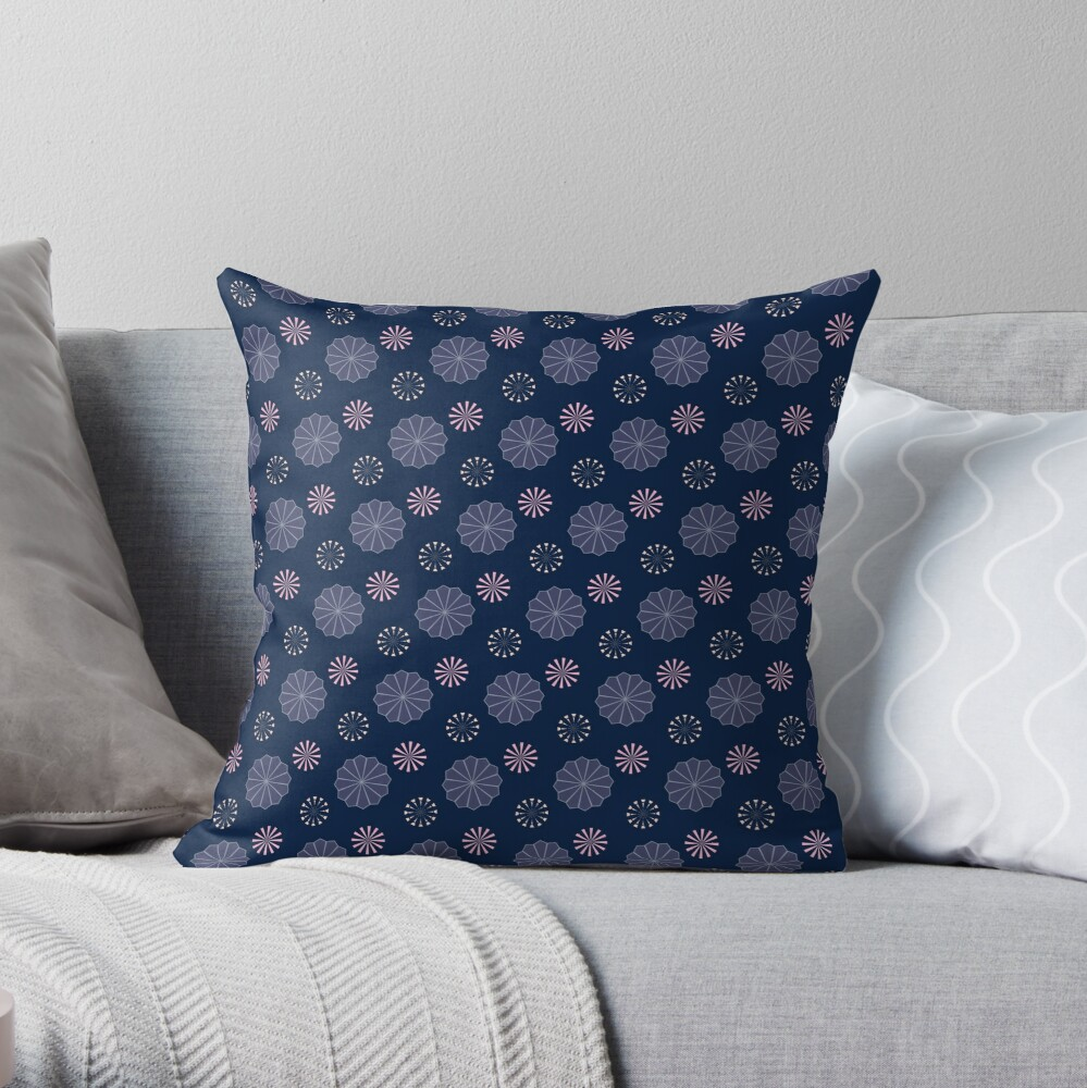 Pink and Purple Flowers at Night Throw Pillow