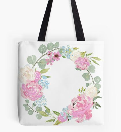 Pink Floral Wreath Tote Bag