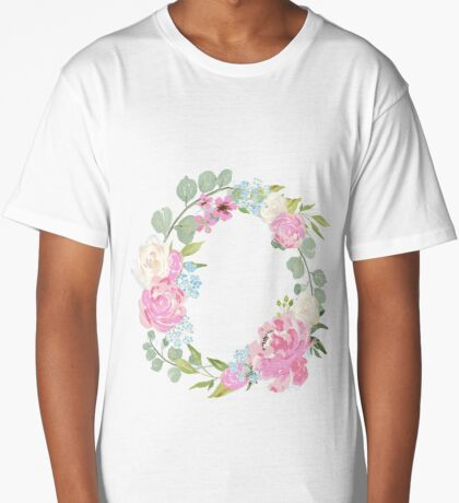 Pink Floral Wreath Long T-Shirt