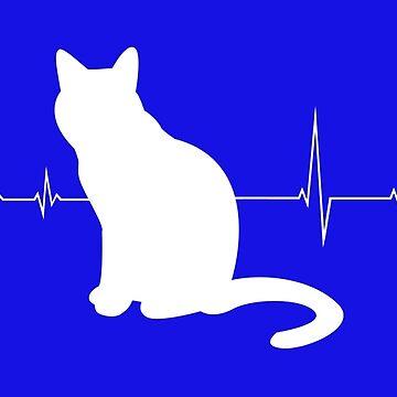 Heartbeat cat - I love cats by Juttas-Shirts