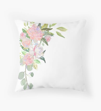 Pink Floral Border Throw Pillow
