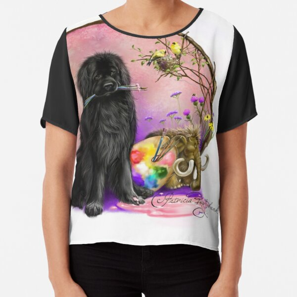 Newfie and paintbrushes  Chiffon Top