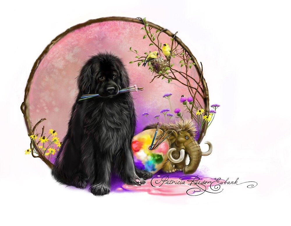 Newfie and paintbrushes  by Patricia Reeder Eubank