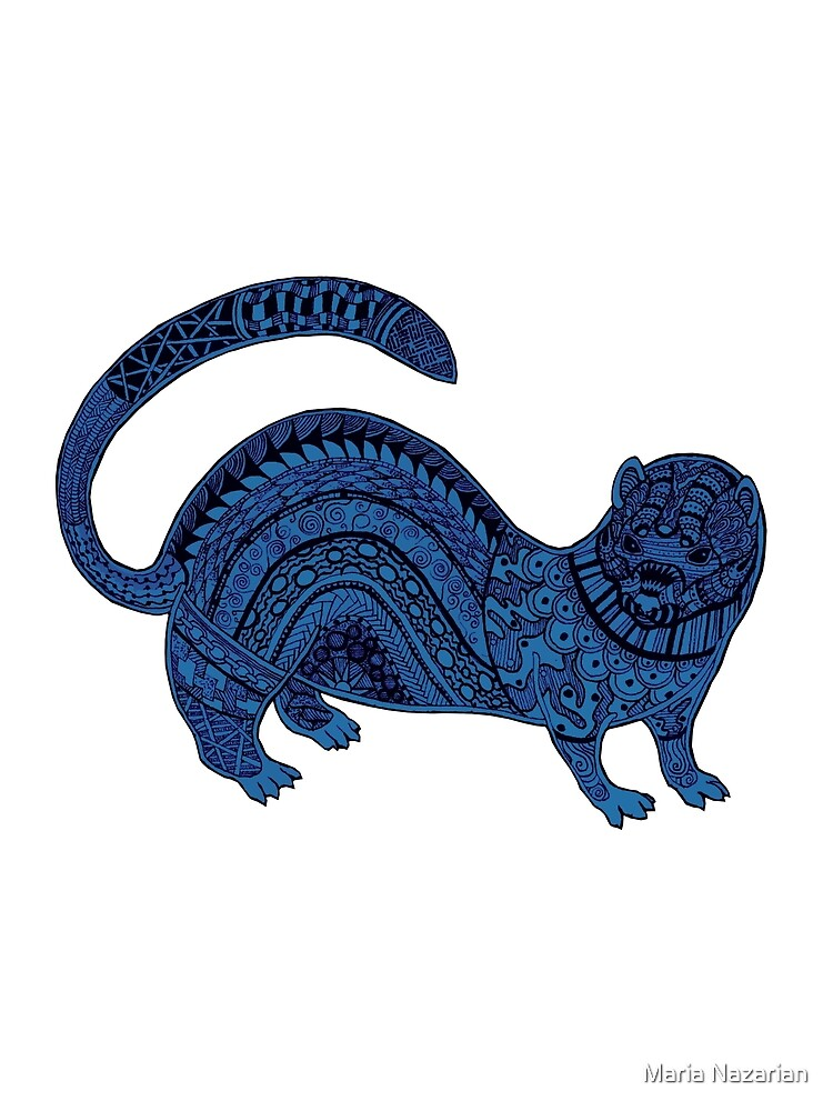 Blue zentangle ferret by Arollo