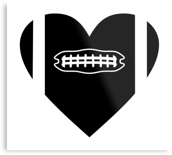 AMERICAN FOOTBALL HEART. BLACK AND WHITE by SUBGIRL