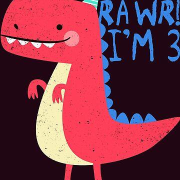 Dinosaur Birthday Gift Idea Rawr I'm 3 Years Old  by FabbyTees